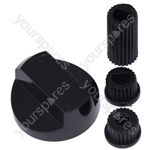 Universal Cooker Oven Grill Control Knob And Adaptors Black Fits All Gas Electric