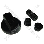 Universal Cooker/Oven/Grill Control Knob And Adaptors Black