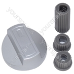 Universal Cooker Oven Grill Control Knob And Adaptors Silver Fits All Gas Electric